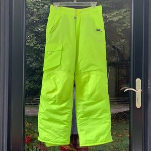 Boys Girls Ski Snow Pants Neon Yellow Youth Lg
